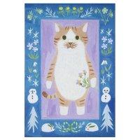 ポストカード 絵本の中のねこ(チャトラの靴下ネコ)